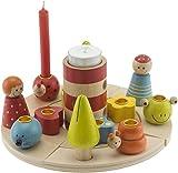 Bieco 74024933 - Holz Kerzenhalterset für 8 Geburtstagskerzen und ein Teelicht, ca. 20 cm