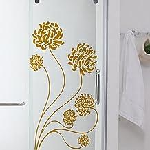 Vinilo de flores de diente de león. Color oro. Medidas: 100x55cm