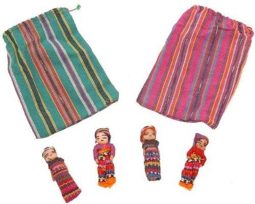 Kunsthandwerk Lateinamerika - Muñecos quitapenas en bolsa (4 unidades, tamaño grande)
