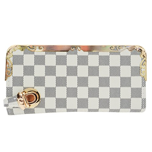 Bagaholics Checks Clutch Ladies Purse Girls Hand Wallet Women Clutches Diwali Gift (White)  available at amazon for Rs.375