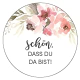 48 x Aufkleber Hochzeit Gast Blumenmeer Rosa Gastgeschenk Etikett