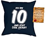 Geschenk für Kinder Kissen mit Füllung und Urkunde Ich bin 10 …und echt cool drauf! Kindergeburtstag Geschenkidee 10 jähriges Kind für Kids