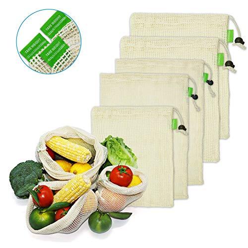 VICKSONGS Wiederverwendbare Gemüsebeutel und Obstnetz, Obst und Gemüse Beutel, Gemüsenetze für den Plastikfreien Einkauf [6er Set/Natürliche Textilien] - 1xS, 2xM, 2XL, 1x Brotbeutel -