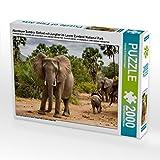Abenteuer Sambia: Elefant mit Jungtier im Lower Zambezi National Park 2000 Teile Puzzle quer (CALVENDO Orte)