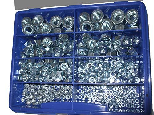 500 tlg Muttern Sortiment M3 - M10 im Koffer, verzinkt, Kl. 8 DIN 934, Sechskantmuttern im Koffer