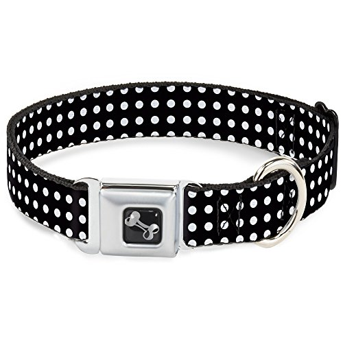 "Buckle Down Seatbelt Buckle Dog Collar - Micro Polka Dots Black/White - 1.5"" Wide - Fits 18-32"" Neck - Large"