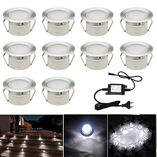 10er Set Led Bodeneinbauleuchten Aussen DC12V 1W Ø45mm IP67 Wasserdicht LED Terrassen Einbaustrahler Terrasse Küche Garten Einbauspots Kaltes Weiß -