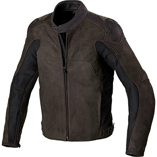P179-044 46 - Spidi Evotourer Leather Motorcycle Jacket 46 Brown (UK 36)