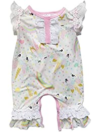 954e8ce348a So Sydney Girls Toddler Baby Infant Spring Summer Flutter Lace Sleeve Romper  (M (6