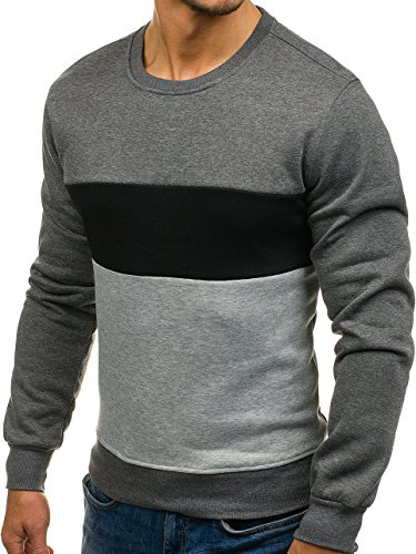 BOLF Herren Pullover Sweatshirts Langarmshirt Rundhals MIX Basic Dunkelgrau_J36