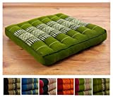 livasia Kapok Sitzkissen 35cmx35cmx6,5cm der Marke Asia Wohnstudio, asiatisches Stuhlkissen, Bodensitzkissen, Gartenstuhlauflage, (grün)