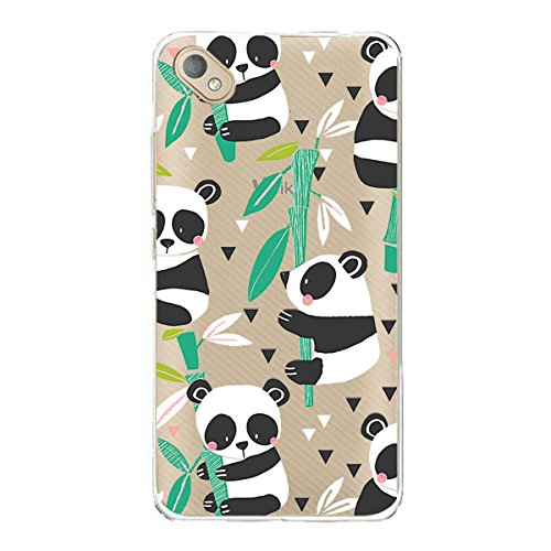 Coque pour Wiko Sunny 2 Plus (5.0 pouces), JIENI Transparente Panda aime le bambou TPU Housse Etui Silicone Bumper Back Case Clair Cover Shell pour Wiko Sunny 2 Plus