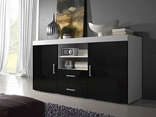 buffet-mambo-164-cm-2-portes-2-tiroirs-tapis-de-corps-blanc-noir-haute-brillance-avant