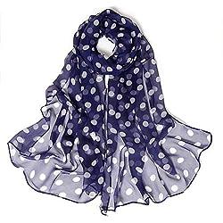 Lenfesh Fulares seda Mujeres Bufanda seda con Estampado de Lunares Pañuelos Fular Mujer Bufandas Estampado