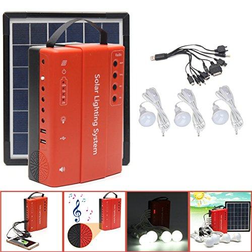 LaDicha 5W 9V Portable Solar Panel Stromspeicher Generator Led Light USB Ladegerät Outdoor Emergency System - Eu-Stecker -