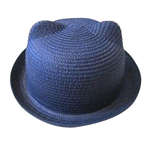 TININNA Oreille de Chat Nœud Enfant Casquette Chapeau de Soleil Mignon en Paille Plage Bonnet Bleu X