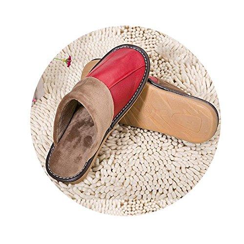 TELLW Pantofole in Pelle di Cotone casa Inverno Pantofole Uomo e Donna Coppie Spesse Suole Non-Slip Pantofole in Pelle Rosso