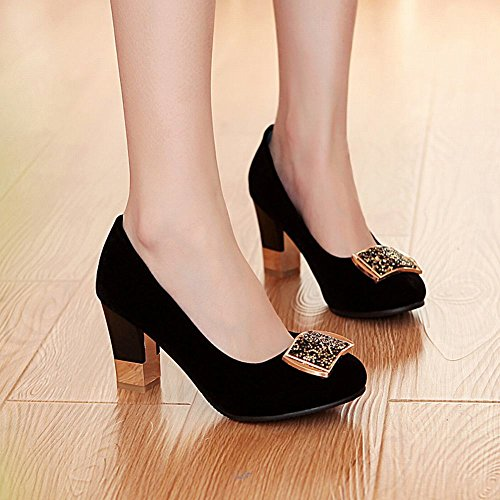Mee Shoes Damen elegant Nubukleder Geschlossen mit Strass Metall-Dekoration Pumps mit hohen Absätzen Schwarz