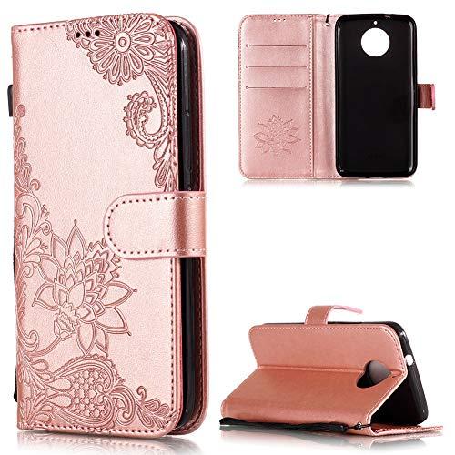 FNBK Handyhülle für Moto G5S Plus Leder,Moto G5S Plus Hülle, Blumen Flip Wallet Stand Case Card Leder Tasche Karteneinschub Magnetverschluß Kratzfestes Rosegold Schutzhülle für Moto G5S Plus