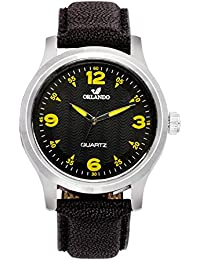 Orlando® Branded Japan Movement With Black Dial & Black Leather Belt & Yellow Highlights Watches For Men - W1301BYXZXZ