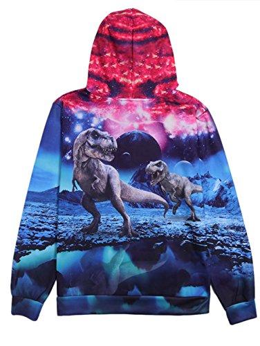 Idgreatim Unisex Kapuzenpullover 3D Bedruckte Tunnelzug Pullover Swearshirt Mit Taschen Dinosaurier