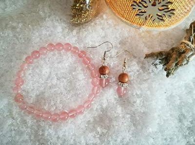 parure bracelet quartz rose, bracelet pierres naturelles, boucles quartz rose, set cadeau, cadeau Noël, ensemble bijoux