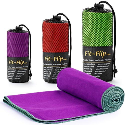 Fit-Flip Lila mit grauen Rand, 1x 200x100cm | Handtuch mikrofaser flauschig Handtuch mikrofaser Gesicht Handtuch mikrofaser grau