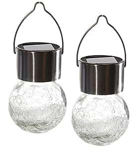 led solar gartenleuchte 2er set glaskugel zum h ngen d mmerungssensor garten. Black Bedroom Furniture Sets. Home Design Ideas