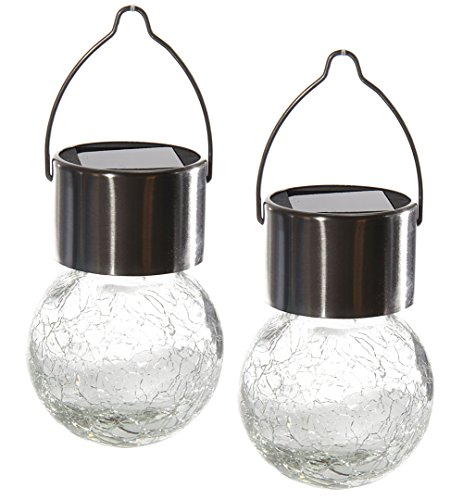 LED Solar Gartenleuchte 2er Set Glaskugel zum hängen Dämmerungssensor