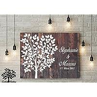 80x60 cm, Gästebuch, Hochzeitsbaum, Wedding Tree, Alternative Gästebuch, Leinwanddruck - Baum, Leinwand, Keilrahmen und Holz Motiv