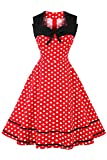 Damen 60er Jahre Vintage Abendkleid Pin Up Kleid Polka Dots Knielang Rot S