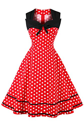 MisShow Robe Femme Occasion Spéciale Vintage année 40s 50s Imprimée à Pois Courte Robe de Cocktail pour Soirée Swing Rockabilly en Coton Rouge M