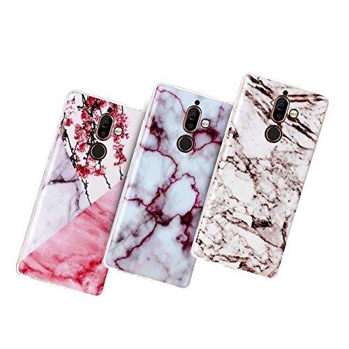 XTCASE 3X Coque Nokia 7 Plus, Marbre Motif Ultra Mince Premium Silicone TPU Gel Souple Étui Protection Bumper Housse pour Nokia 7 Plus, Fleurs + Rouge + Noir et Blanc