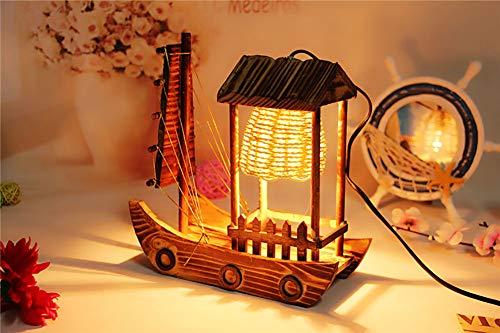 DECORATZ Handgemachte hölzerne Segelboot-Fertigkeit-Geschenk-Tischlampe, LED-warmes Licht-kreatives kreatives antikes dekoratives Beleuchtungs-Befestigungs-Durchmesser * 23cm Höhe * 26cm - Moderne Dekorative Beleuchtung-befestigung