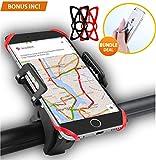 Support de téléphone PRIMIUM Support vélo guidon de vélo universel guidon de vélo et support moto Cradle Clamp - Holder Ring BONUS - pour iOS Android GPS Smartphone avec un seul bouton Sortie, 360 degrés orientables, bracelet en caoutchouc