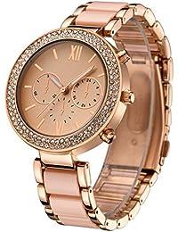 Oumosi Reloj de Pulsera Cuarzo Exquisita Color Rosa de Oro Reloj Femenino de la Manera