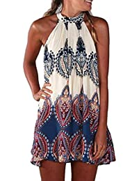 Lenfesh Mujer Elegante Halter Vestido de Gasa Casual Maxi Mini Party Vestido de Fiesta Noche de