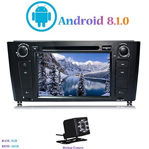 Android 8.1.0 Autoradio, Hi-azul in-Dash 7 Pouces Car Radio Navigation GPS 4-Core Stéréo Voiture avec Lecteur DVD pour BMW 1 Series E81/E82/E88 (2004-2010) (avec Caméra de Recul)