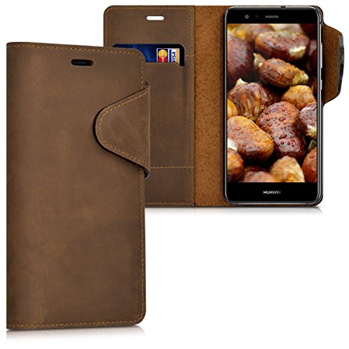 kalibri-Echtleder-Wallet-Hlle-fr-Huawei-P10-Lite-Case-mit-Fach-und-Stnder-in-Braun