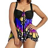 Bikini Damen Push Up LHWY Frauen Plus Größe Schmetterling Druck Tankini Bikini Set Kleid Strand Bademode Sommer Gepolstert Badeanzug für Mollige S-5XL (5XL, Dark Blue)