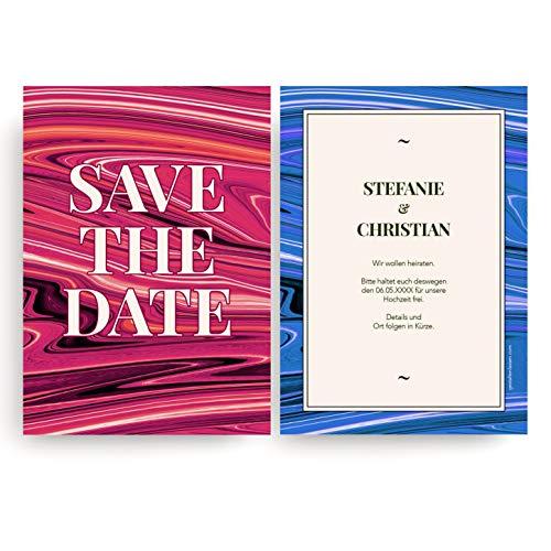 (10 x) Save the Date Karten Hochzeit Einladungskarten Hochzeitseinladungen Rot & Blau