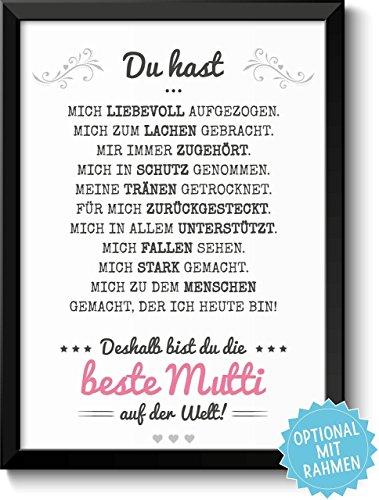 Beste Mama - Bild mit liebevoller Danksagung optional mit Rahmen - Geschenkidee Geburtstag Hochzeitstag Muttertag