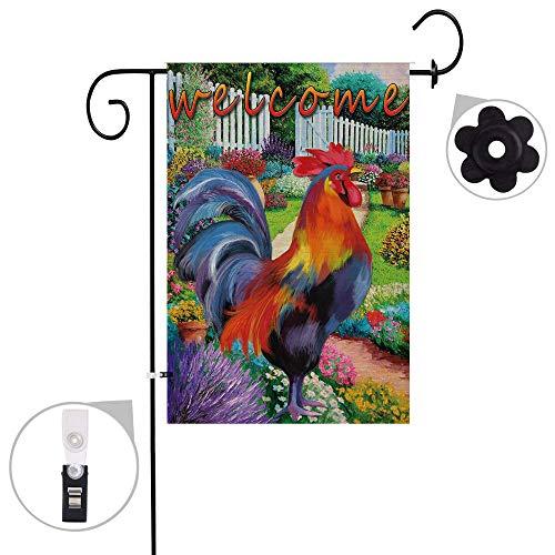 Pinata Hahn Sackleine Gartenflaggen-Set, Wetterfest und doppelt genäht, doppelseitig, mit Gummi-Stopper und Anti-Wind-Clip, 30,5 x 45,7 cm 12x18 Rooster 1