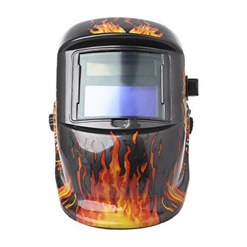 Dabixx Schweißhelm, Solar Auto Verdunkelung Schweißhelm Maske Brille UV/IR Presevation Schädel Flamme -