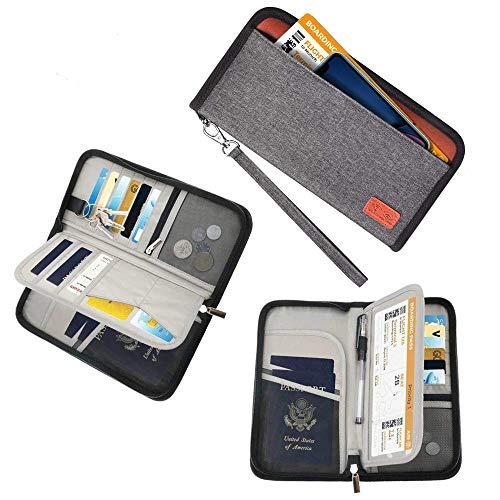Sepper Familien Reise Pass Tasche tragbare Brieftasche RFID Dokument sperrend Tickets Organizer mit Reißverschluss für Frauen und Männer (Grau) - Tasche Brieftasche