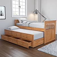 Oxford Captains Guest Bed With Storage in Pine - Trundle Bed Included