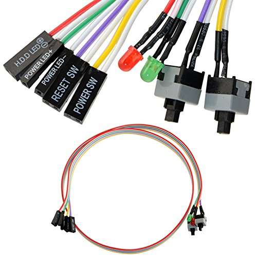 Preisvergleich Produktbild 4in1 PC Power Reset Switch HDD Hauptplatine LED Kabel Licht Wire Kit fuer Computer