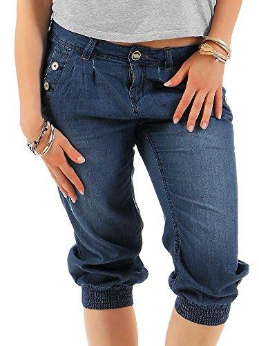 Stitch Denim Kurze (Stitch & Soul Damen Capri Jeans Shorts LSS-040 mit niedrigem Hüftsitz middle blue XS)