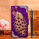 Locaa(TM) For Wiko Rainbow Jam 4G (Only for 4G) 3D Bling pavo real case + stylus + enchufe del polvo - cristalino de lujo la perla del rhinestone del diamante lindo hermoso populares la relucir billetera la tarjeta crédito funda protectora PU [Serie Pavo real] Caso Purple - pavo real púrpura del