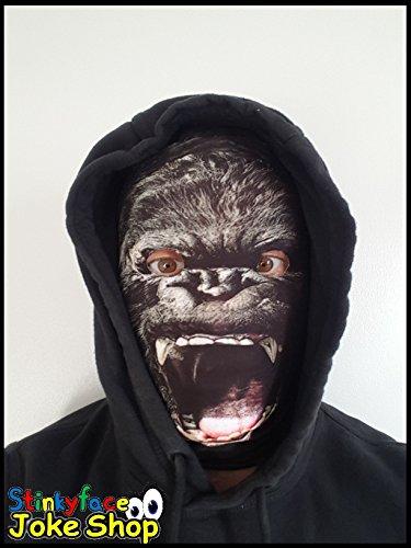 Gorilla Full Head Maske Realistische Tier gedruckt Lycra Funny Scary Fancy Kleid